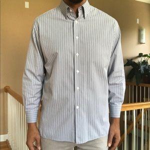 Canali Textured Stripe Sport Shirt Button Down L